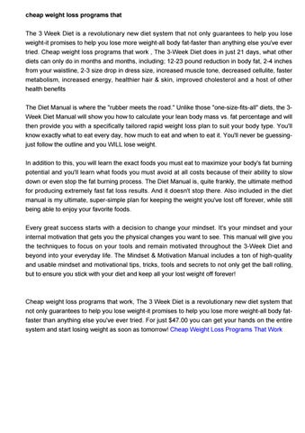 Cheap weight loss programs that work by cheapwei52631hlmy issuu cheap weight loss programs that the 3 week diet is a revolutionary new diet system that not only guarantees to help you lose weight it promises to help you ccuart Images