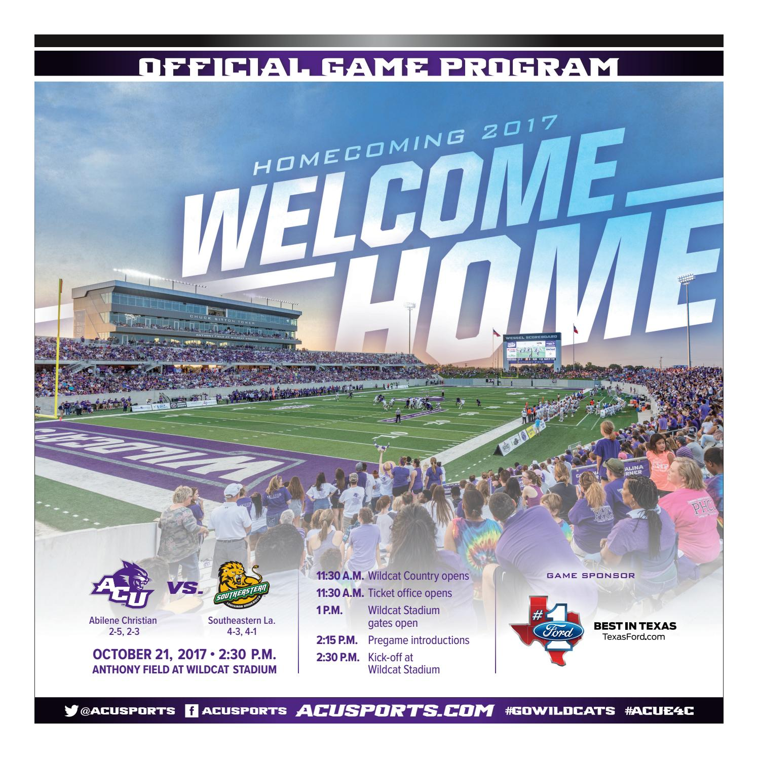 ACU Vs. Southeastern Louisiana Football Program 10/21 By