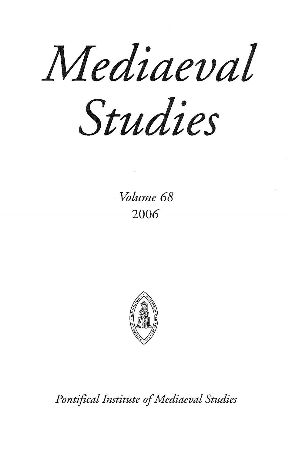 Mediaeval studies volume 68 2006 by Mediaevii Studiosus - issuu