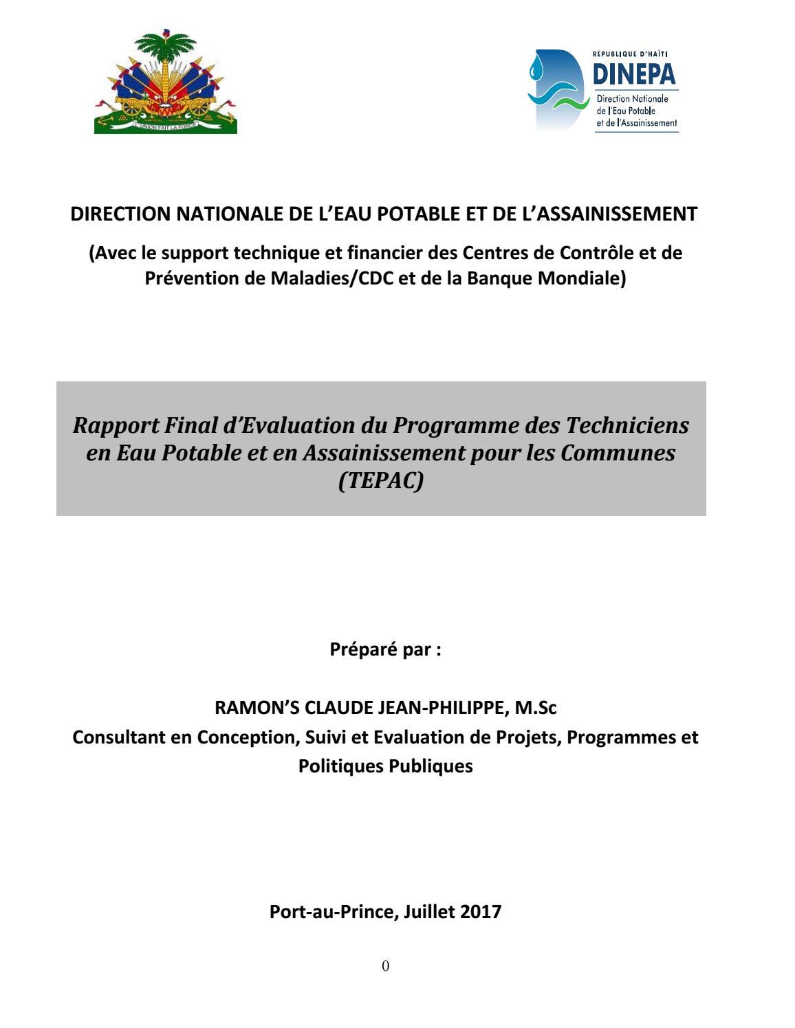 Rapport final d 39 evaluation du prog tepac by dinepa issuu - Office internationale de l eau ...