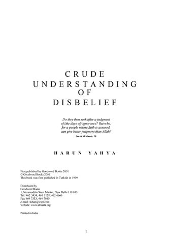 Crude Understanding of Disbelief by Global Publishing - issuu
