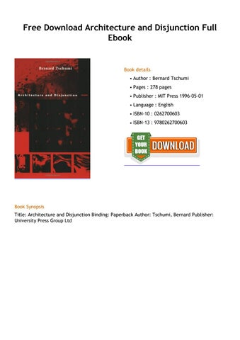 ARCHITECTURE AND DISJUNCTION EPUB DOWNLOAD