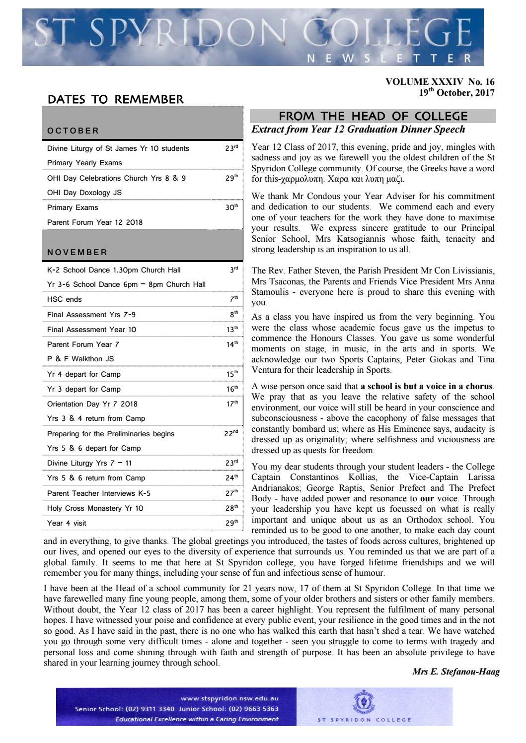 News 185 16a 2017 By St Spyridon College Issuu
