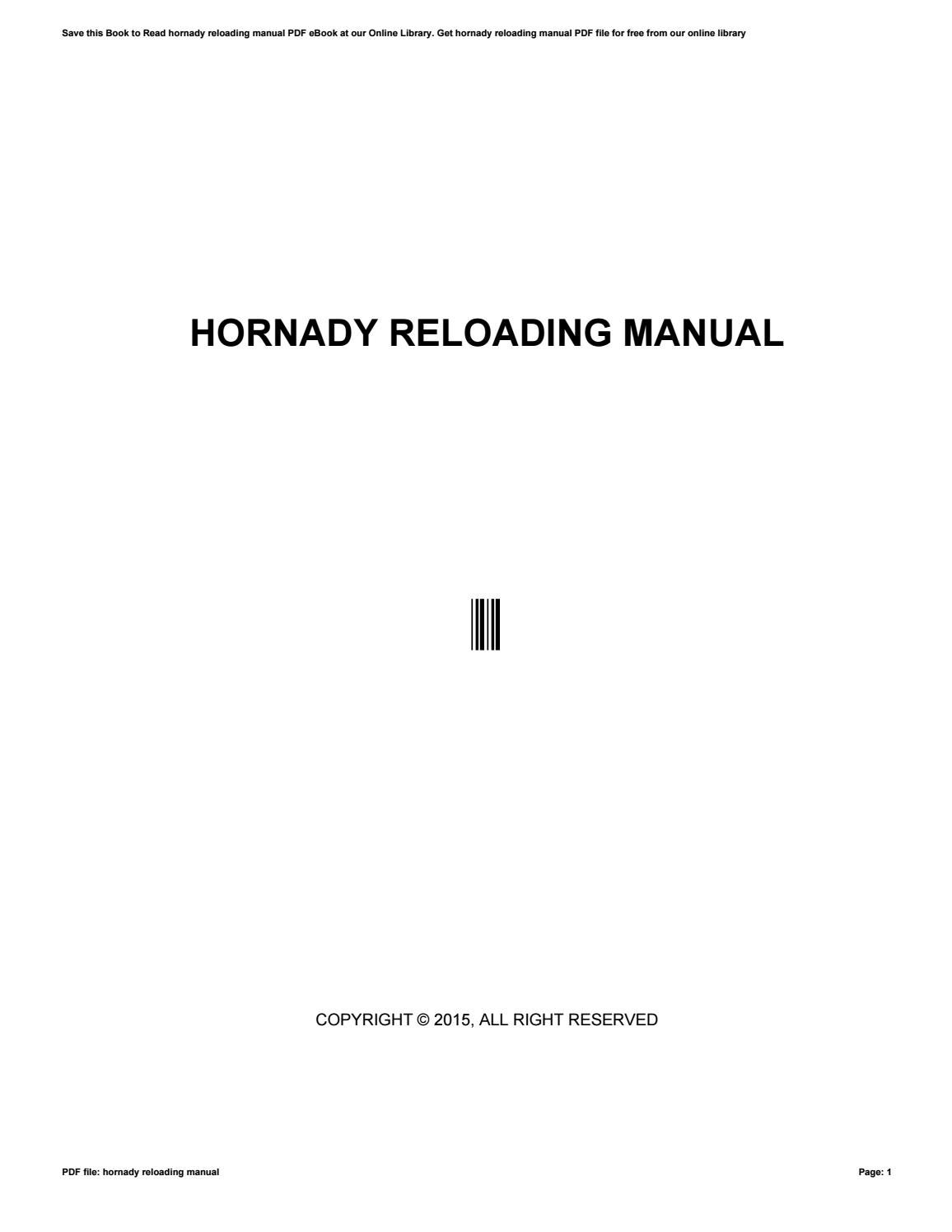 Hornady reloading manual by viresa34rdha - issuu
