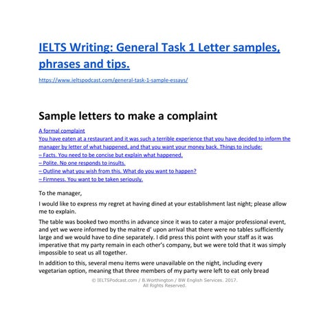 Ielts Writing General Task 1 Sample Letters And Phrases By Ielts