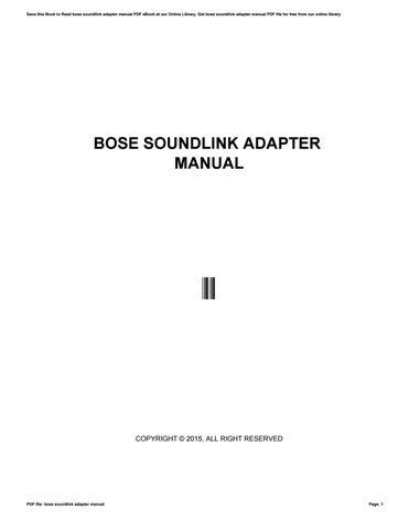 bose soundlink adapter manual by robby76destol issuu rh issuu com bose soundlink adapter setup bose soundtouch wireless adapter setup