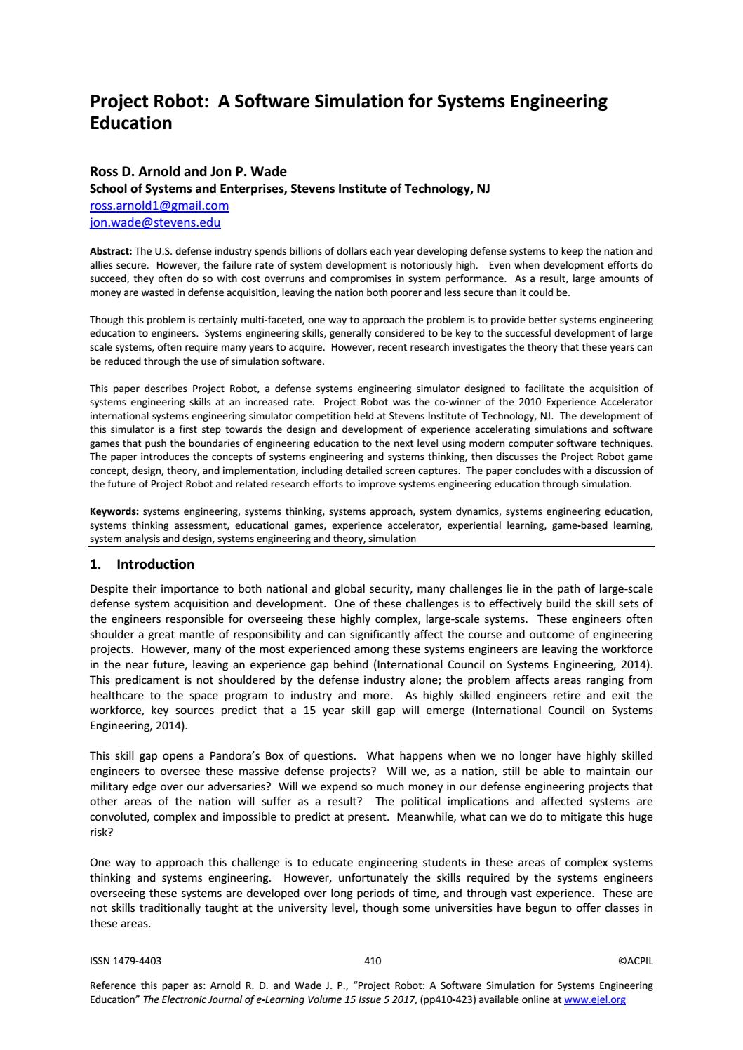 Project Robot A Software Simulation For Systems Engineering Education By Academic Conferences And Publishing International Issuu