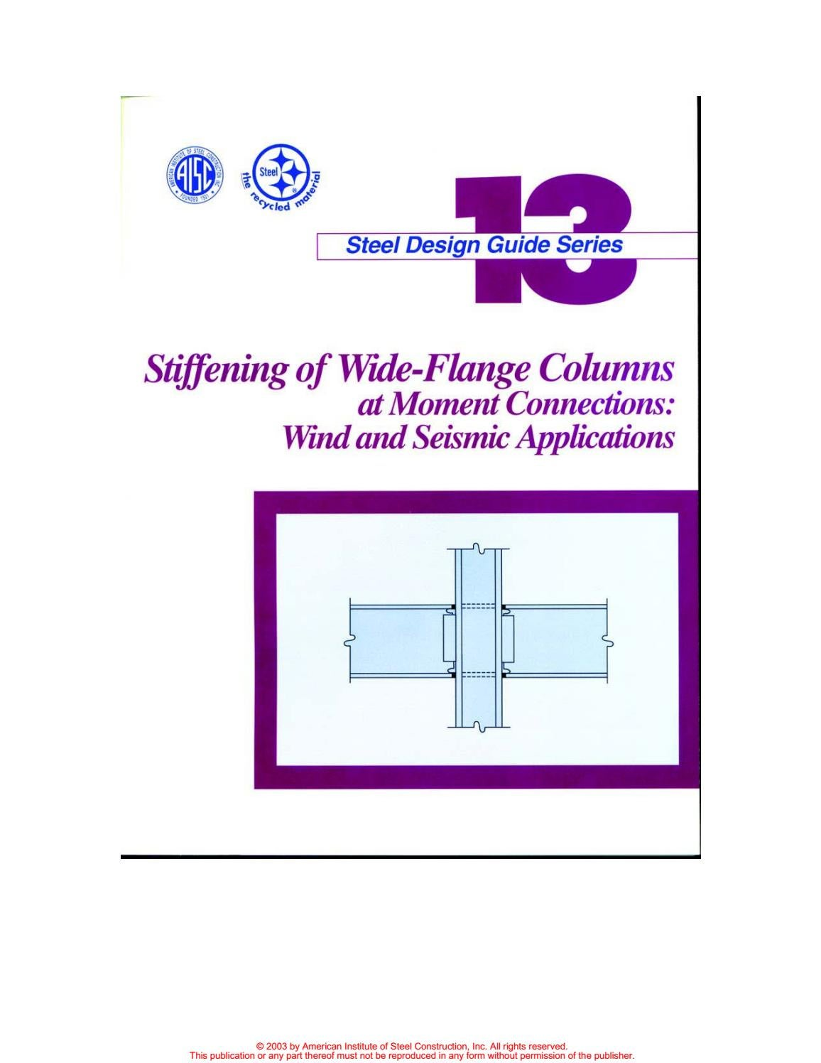Aisc design guide 13 stiffening of wide flange column at