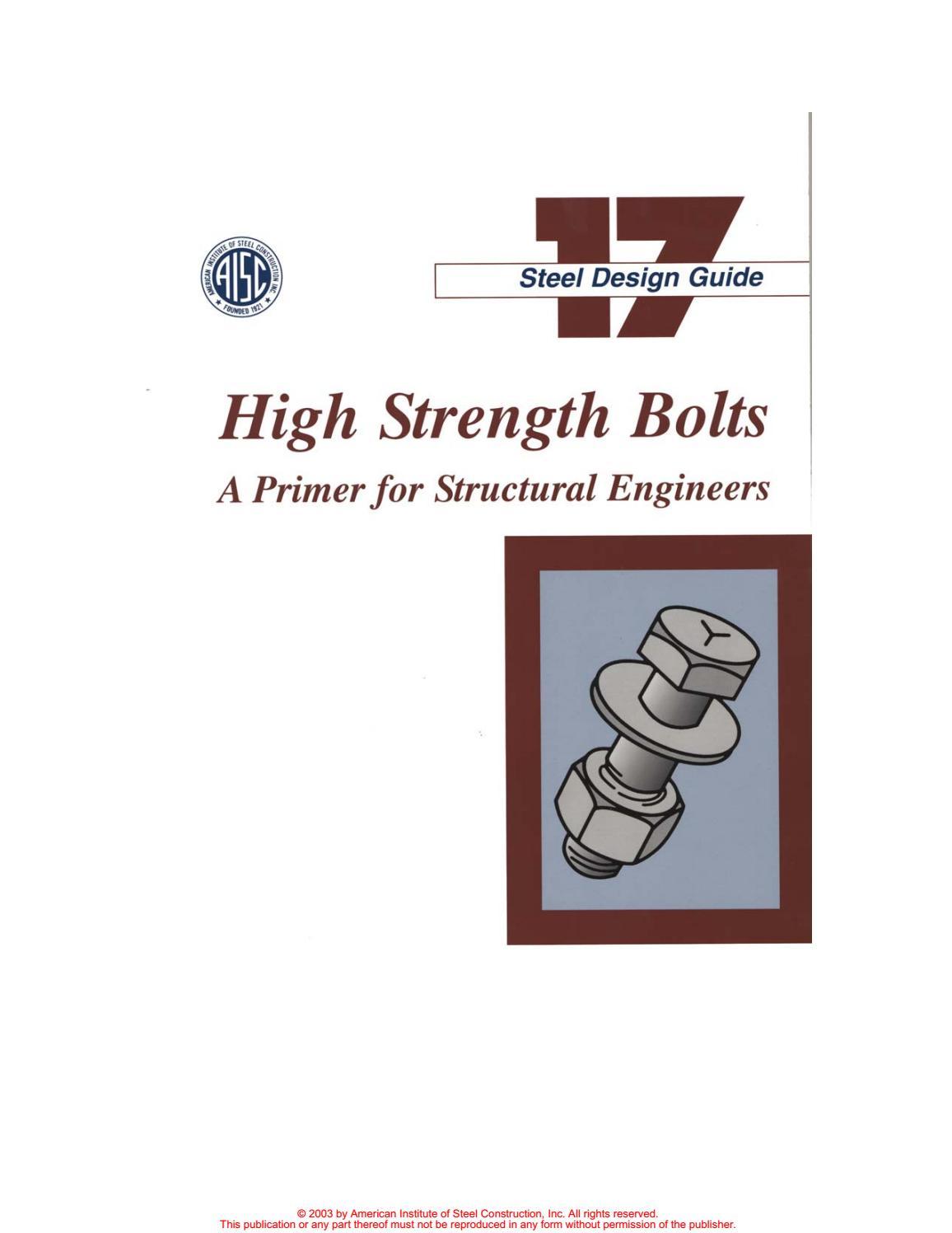 Aisc design guide 17 high strength bolts by Pedro Antonio