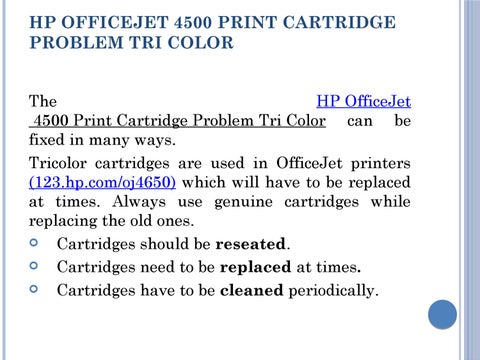Print Cartridge Problem Tri Color in HP Officejet 4500 by