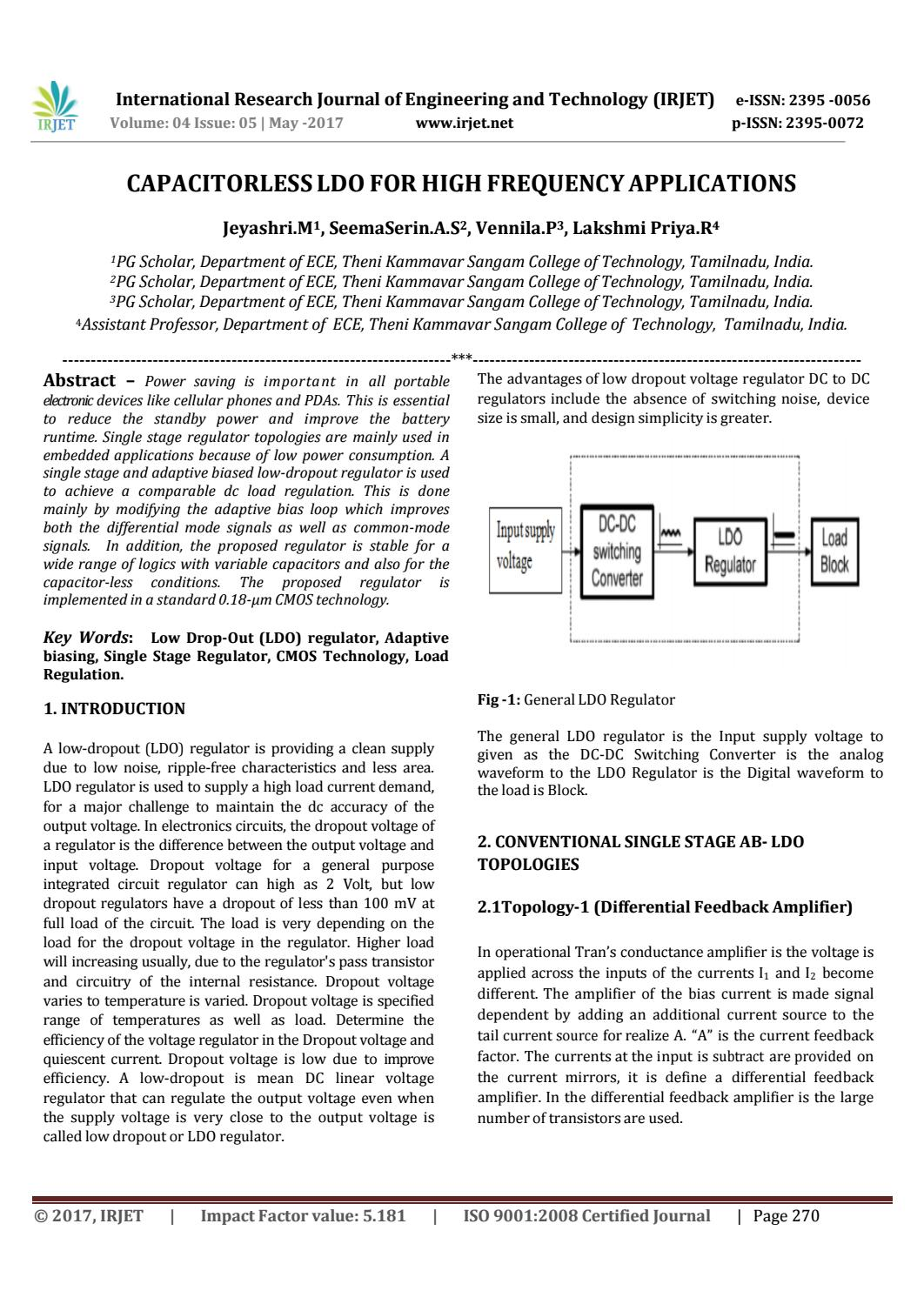 Capacitorless Ldo For High Frequency Applications By Irjet Journal Regulator Issuu