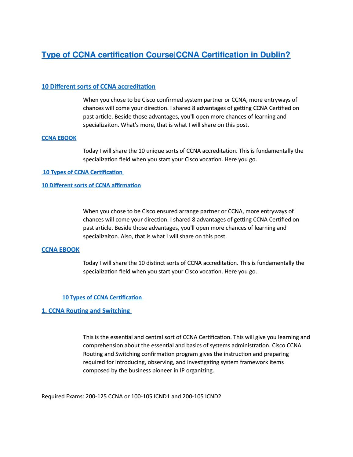 Type Of Ccna Certification Course By Ccna In Dublin Issuu