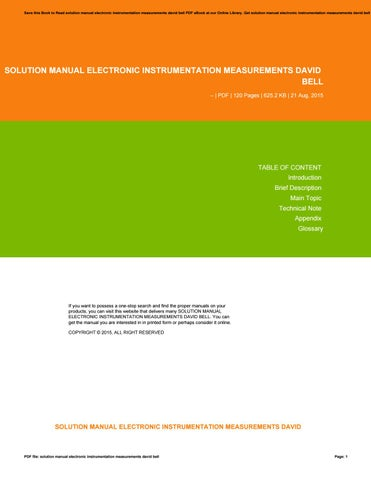 Electronic instrumentation and ebook david measurements a bell