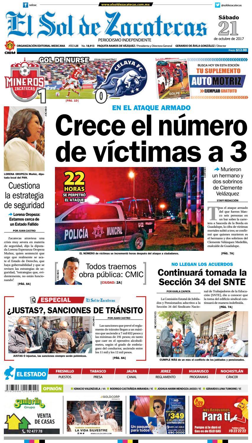 brand new 6fe22 00586 El Sol de Zacatecas 21 de octubre 2017