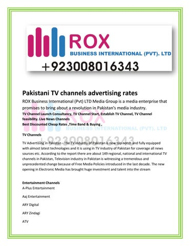 Pakistani tv channels advertising rates tv channel launch