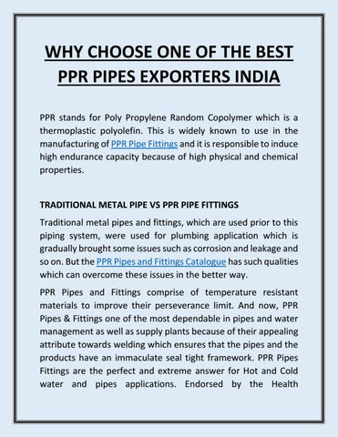 Why Choose One of the Best Ppr Pipes Exporters India