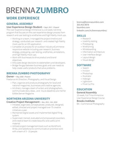 BRENNAZUMBRO WORK EXPERIENCE GENERAL ASSEMBLY. User Experience Design ...  User Experience Designer Resume