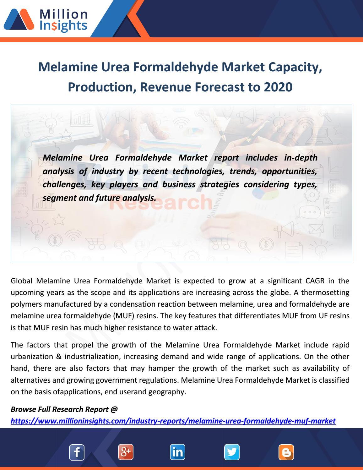 Melamine urea formaldehyde market capacity, production, revenue