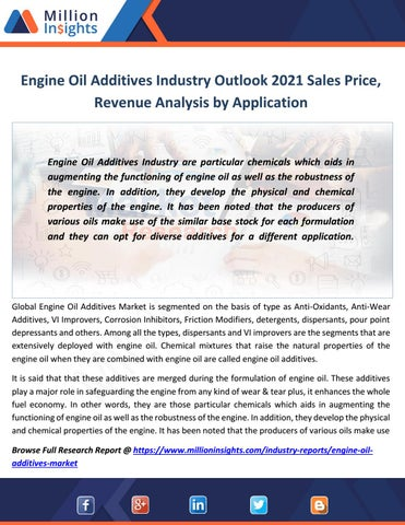 Engine oil additives industry outlook 2021 sales price, revenue