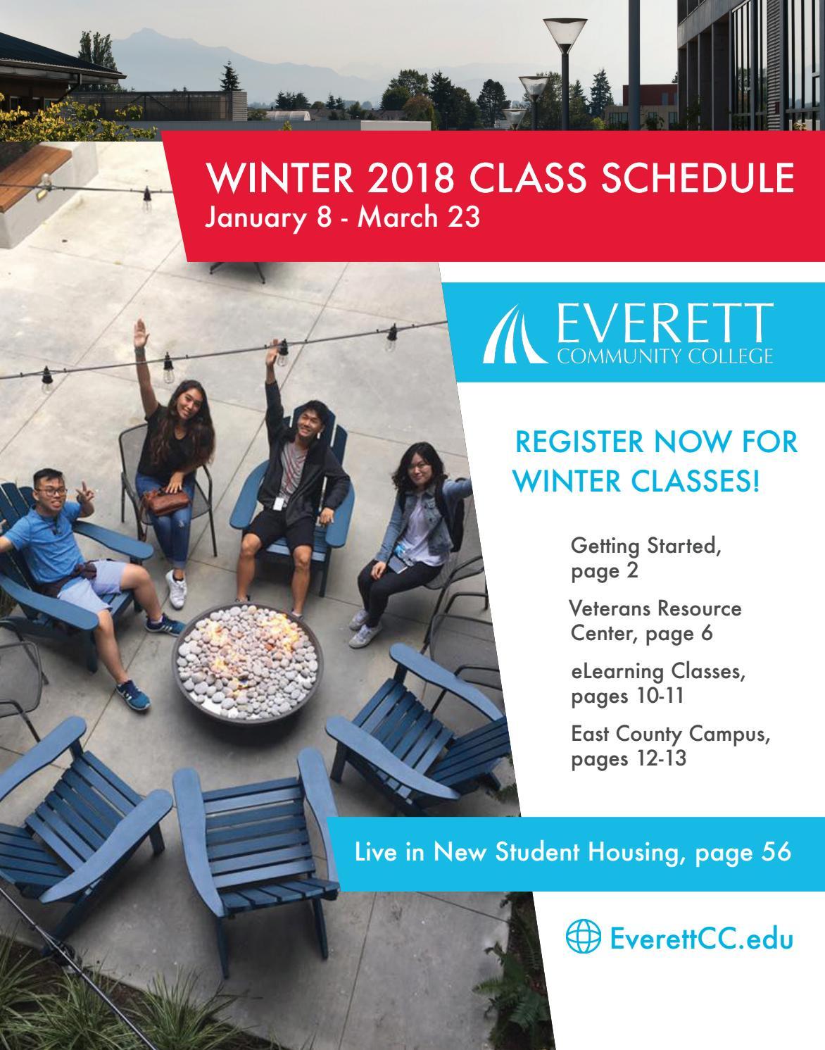 Winter 2018 Class Schedule By Everett Community College