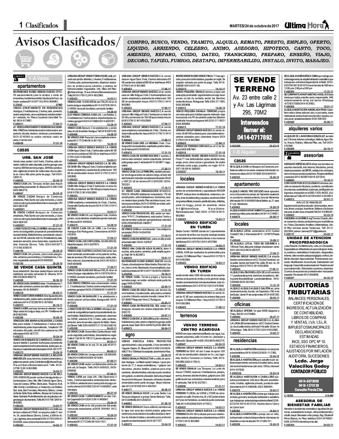 Clasificados 24 10 2017 by Clasificados Ultima Hora - issuu