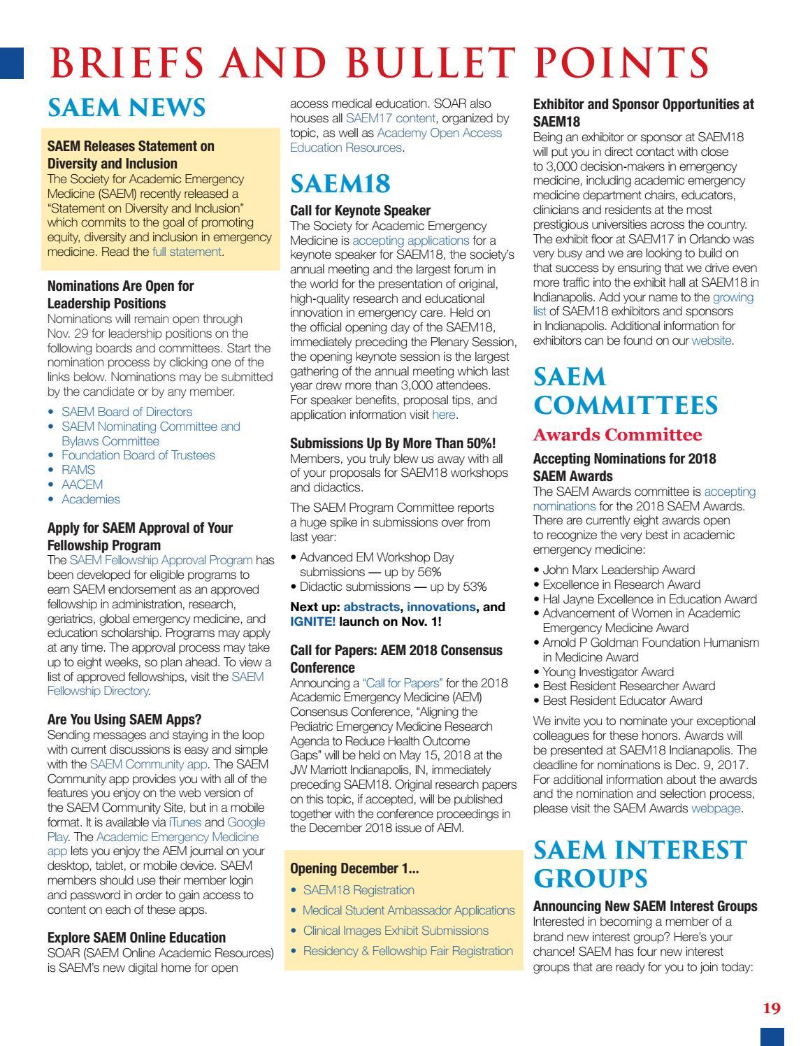 SAEM PULSE November–December 2017 by Society for Academic