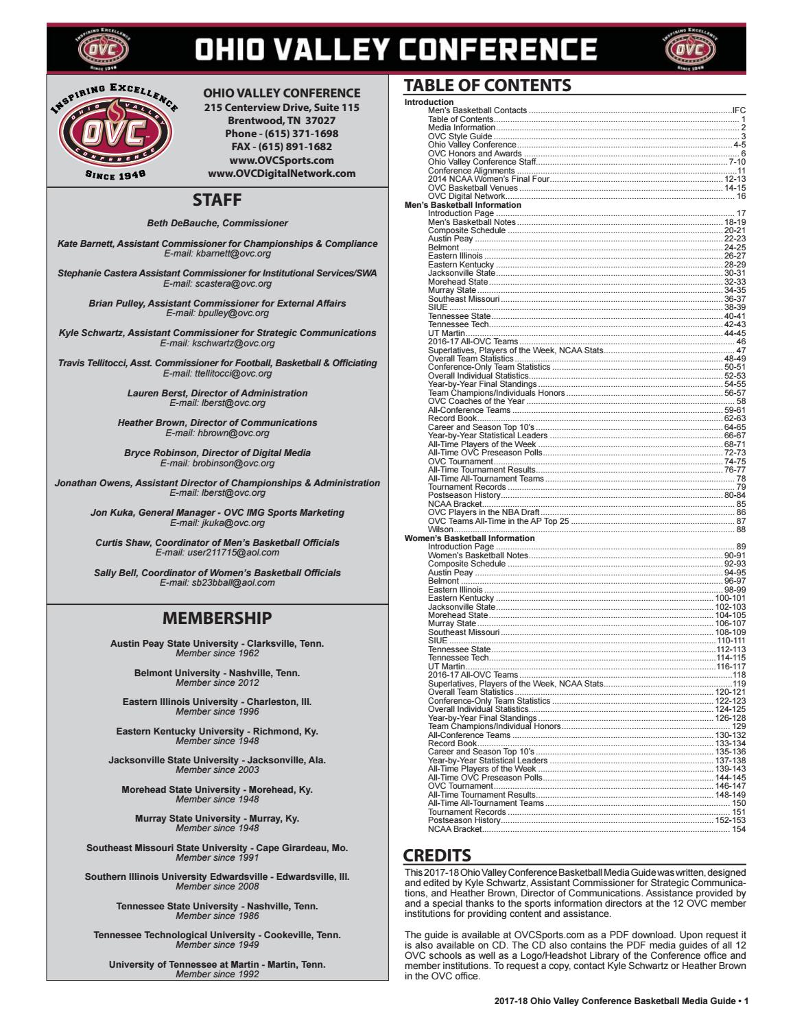 467fc456ae6475 2017-18 OVC Men s   Women s Basketball Media Guide by Kyle Schwartz - issuu