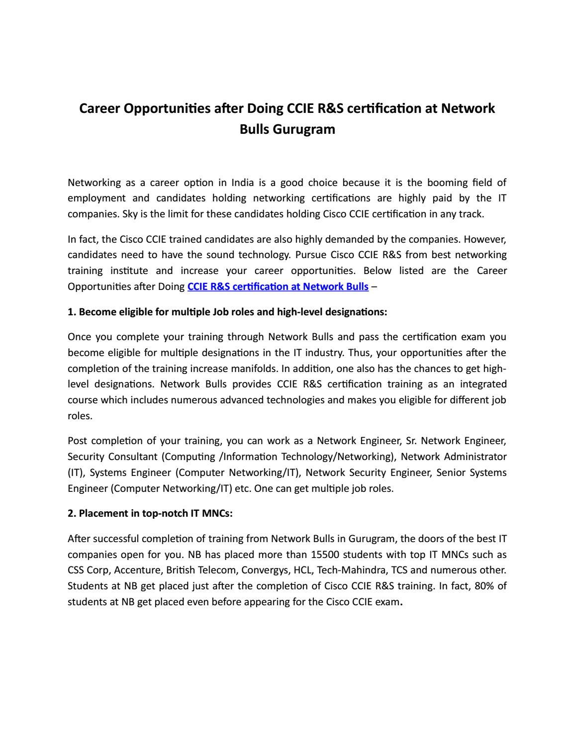 Career Opportunities After Doing Ccie Rs Certification At Network