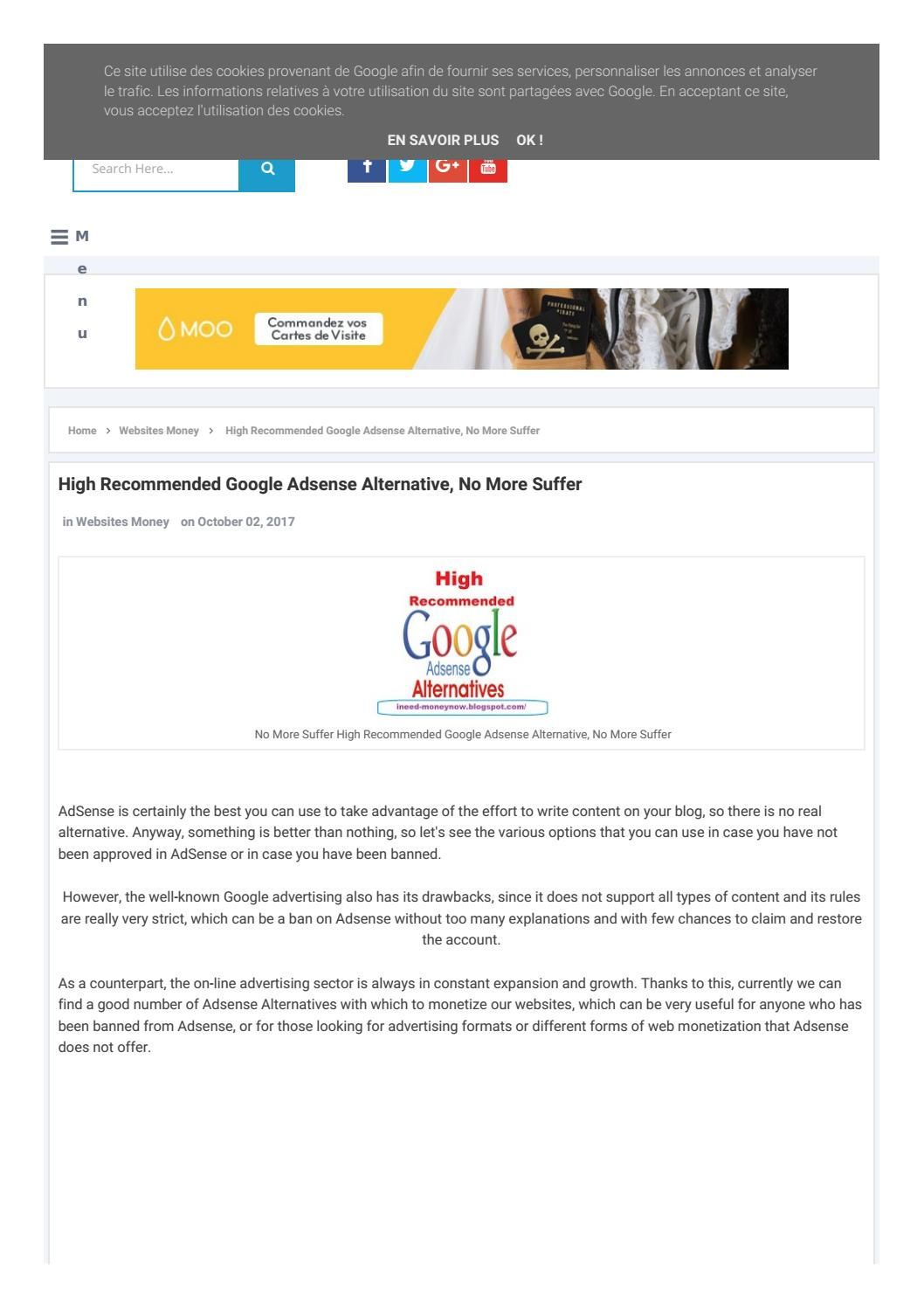 High Recommended Google Adsense Alternative No More Suffer By Ineedmoneynow