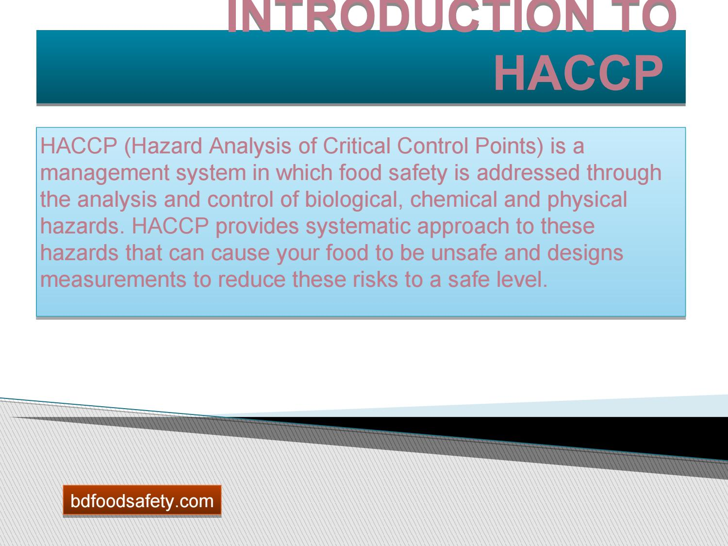Haccp training is compulsory for food business by BD Food