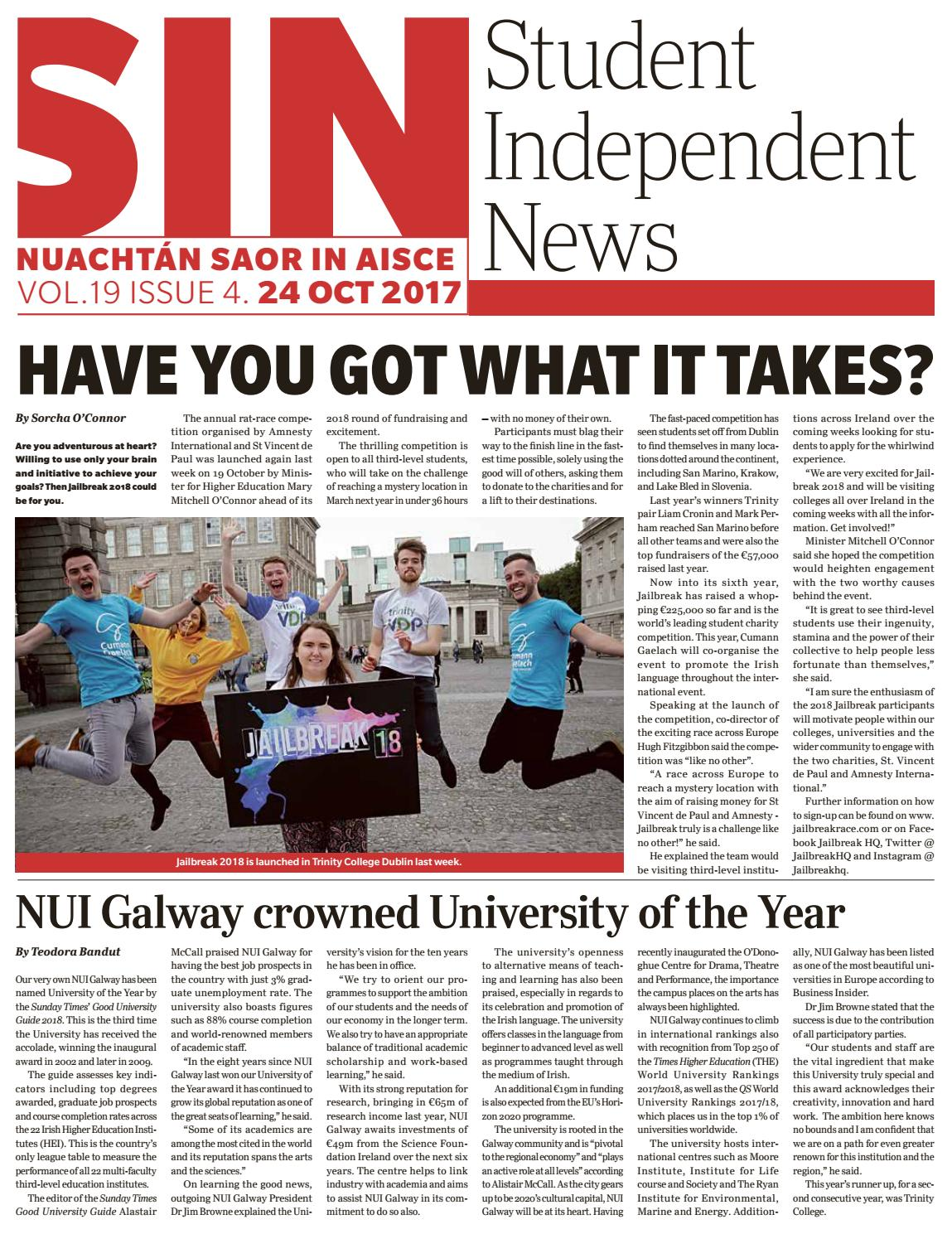 SIN Issue Four Volume 19 by Student Independent News - issuu