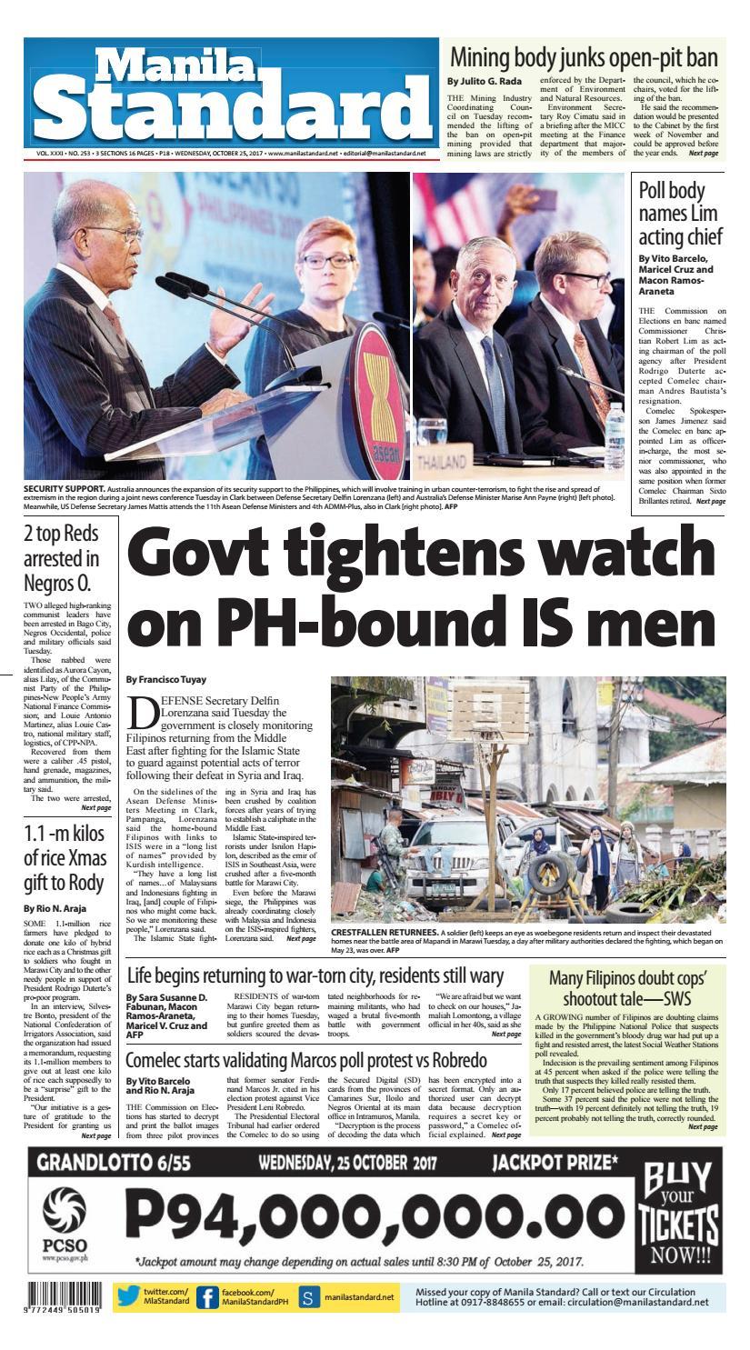 Manila Standard - 2017 October 25 - Wednesday by Manila