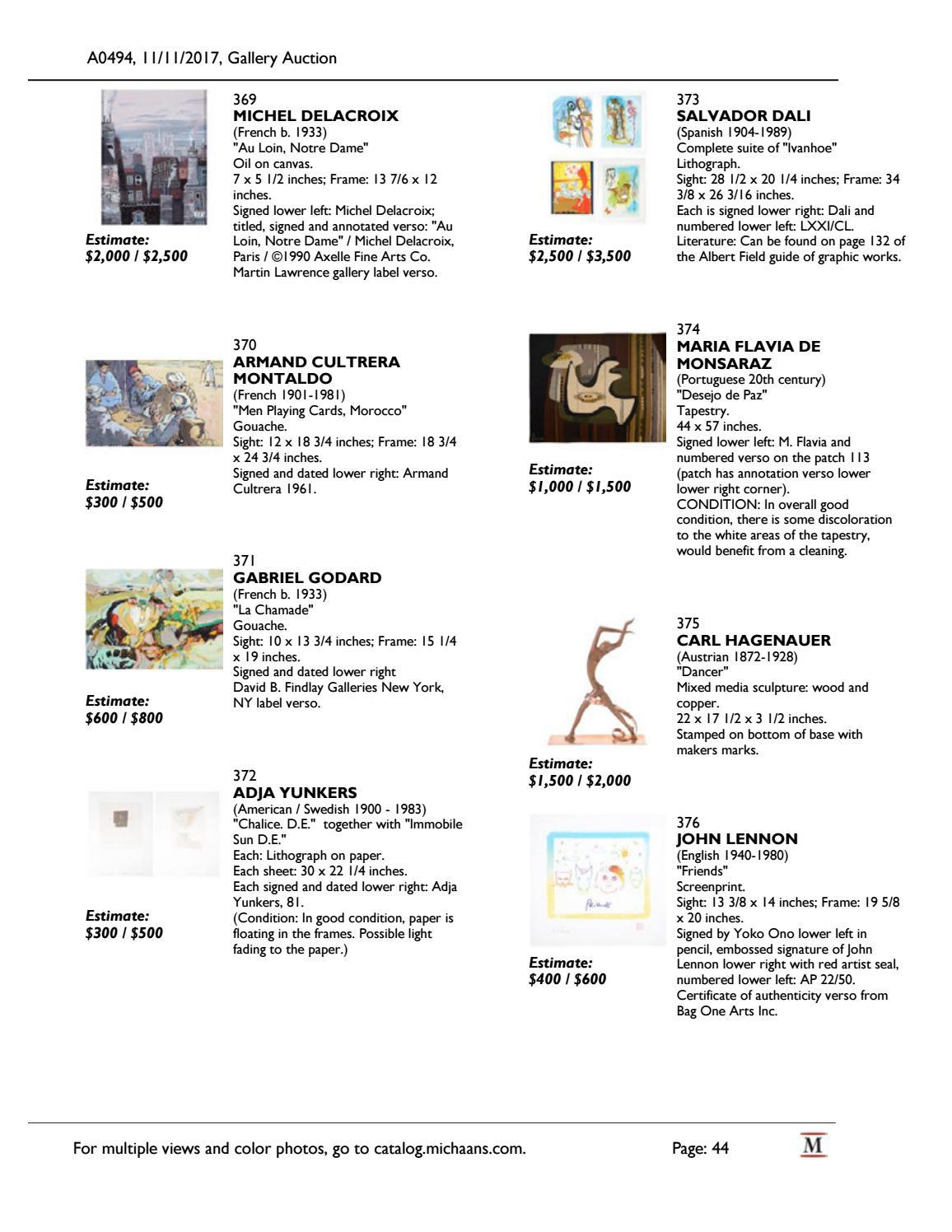 November Gallery Auction catalog