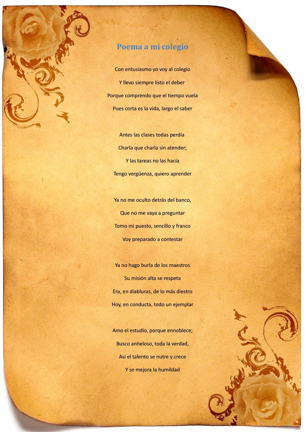Poema A Mi Colegio By Javier Salinas Issuu