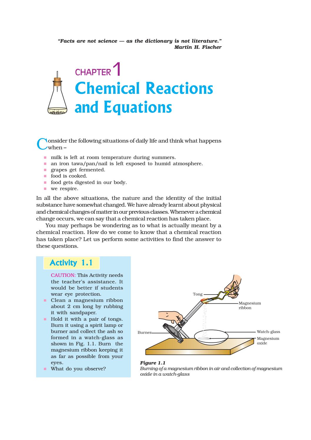 CHEMICAL REACTIONS AND EQUATIONS by Mohd Yousuf - issuu