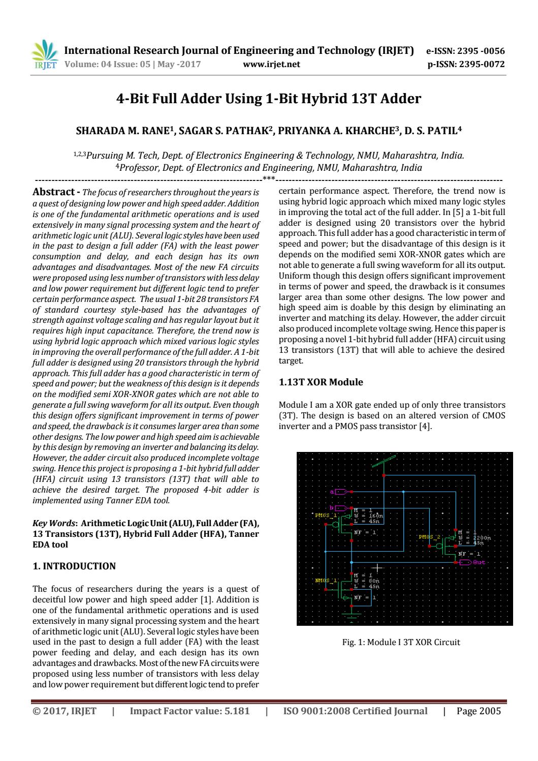 4 Bit Full Adder Using 1 Hybrid 13t By Irjet Journal Issuu Figure1