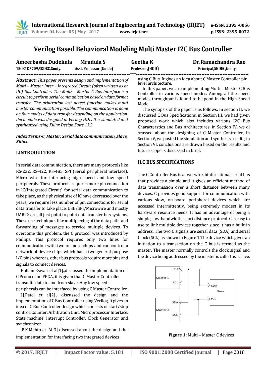 Verilog Based Behavioral Modeling Multi Master I2C Bus Controller by