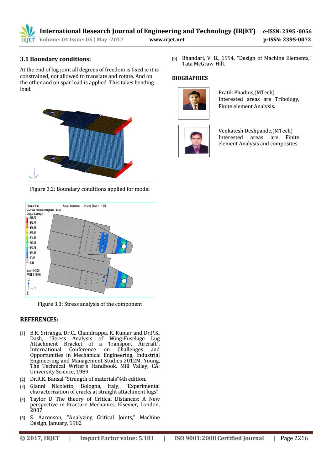 Stress Analysis Evaluation of Aircraft Lug-Joint by IRJET