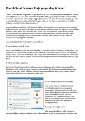 Contoh Surat Lamaran Kerja Yang Cakap Benar By