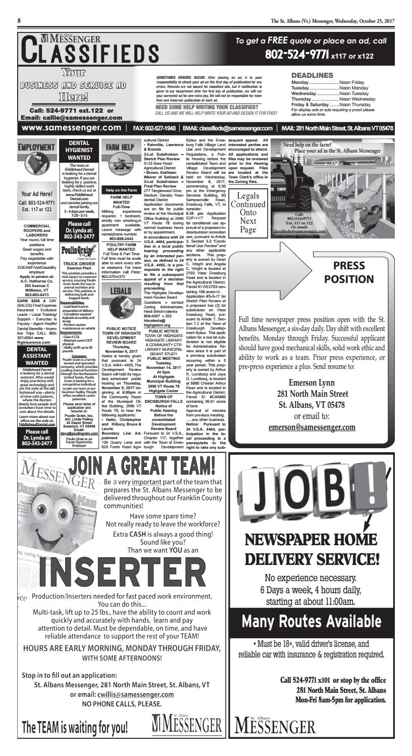 10/25/2017 Classifieds by St  Albans Messenger - issuu