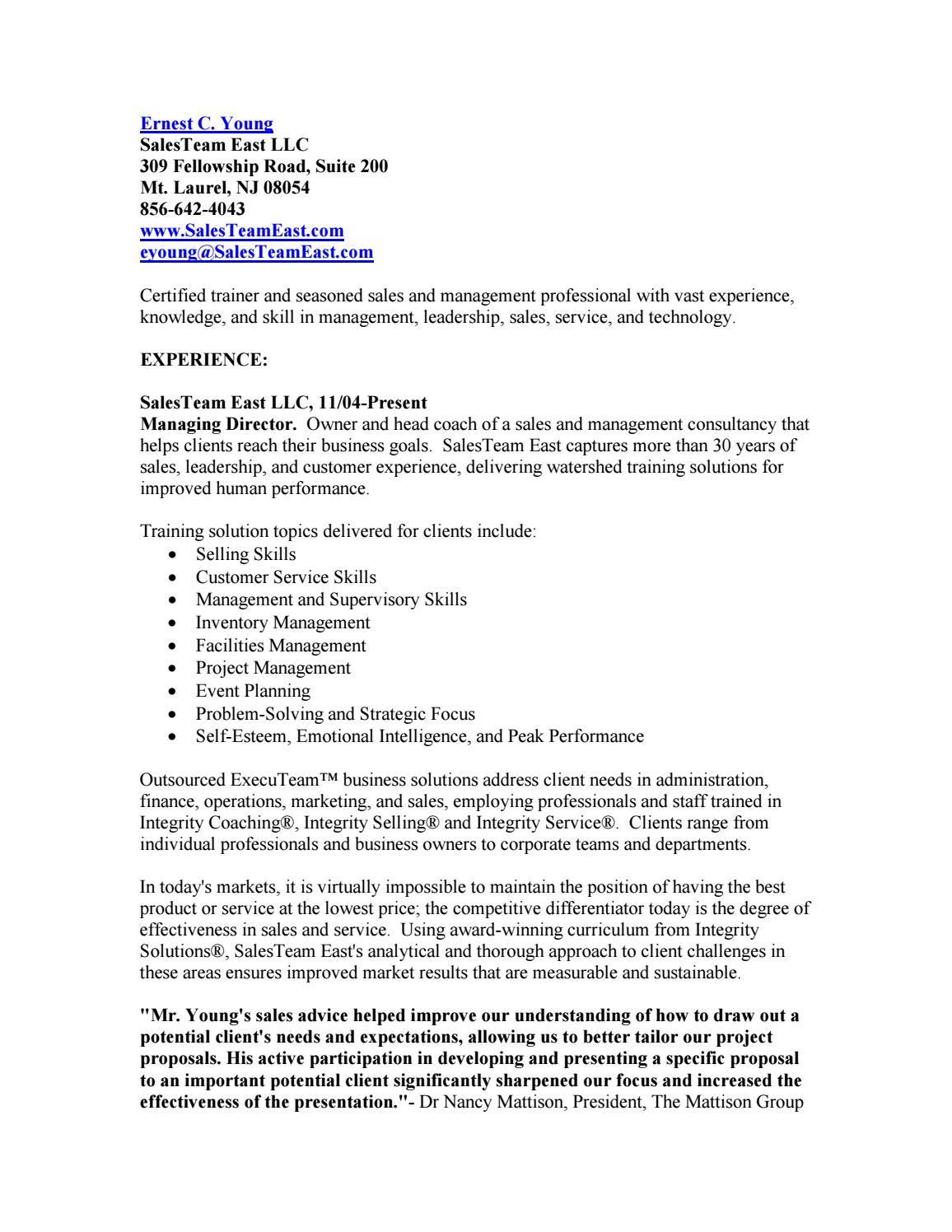 Resume%20xiv by SalesTeam East LLC - issuu