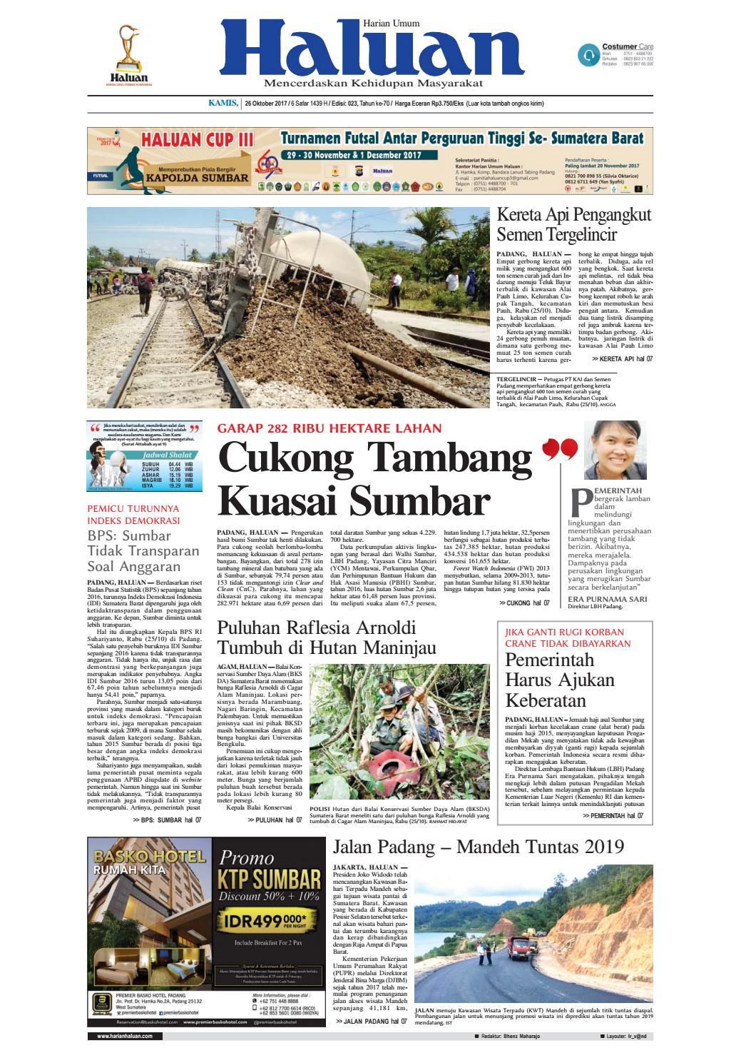 Haluan 26 Oktober 2017 By Harian Issuu Produk Ukm Bumn Sulam Usus Pmk