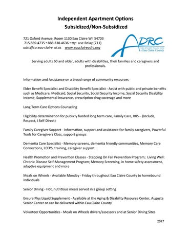 ADRC Independent Housing Guide 2017 by ADRC Eau Claire County - issuu