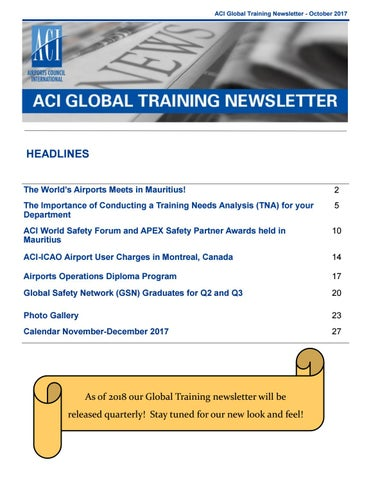 ACI Global Training Newsletter: October 2017 by Airports Council