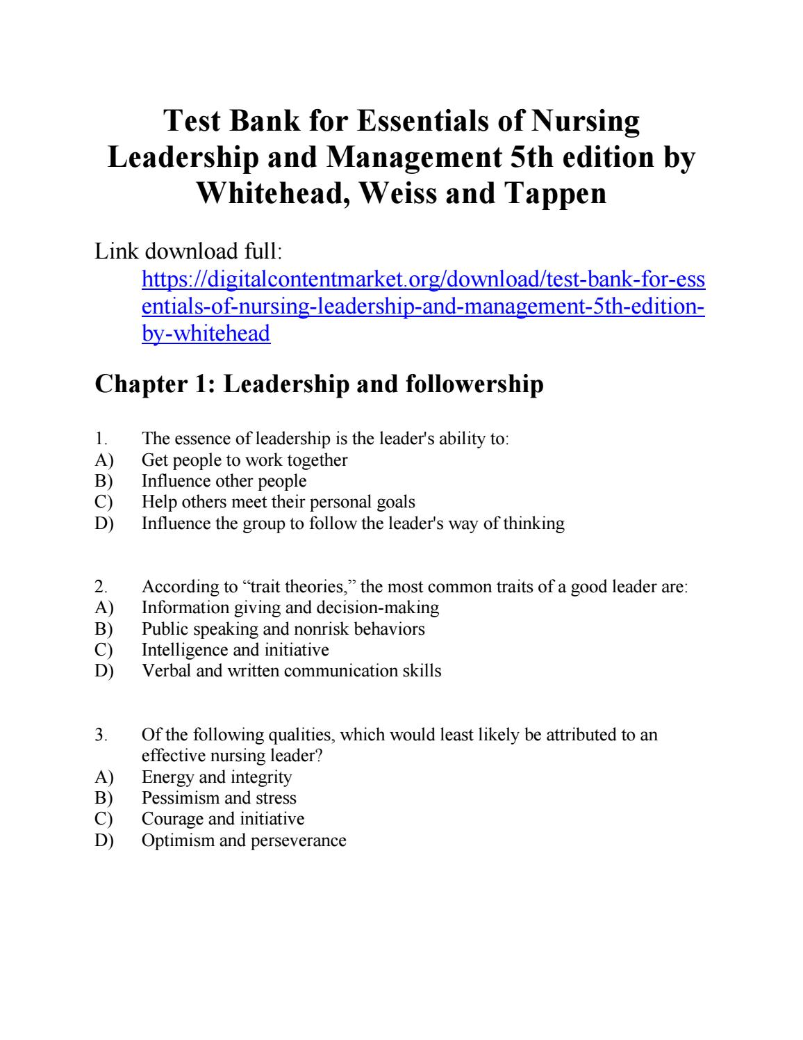 Test bank for essentials of nursing leadership and