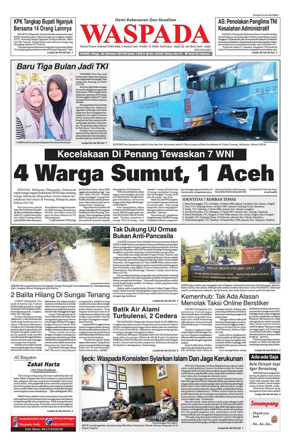 Waspadakamis 26 oktober 2017 by harian waspada issuu