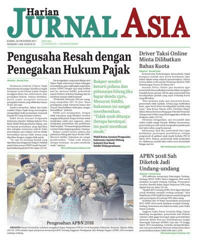 Harian Jurnal Asia Edisi Kamis 26 Oktober 2017 By Harian
