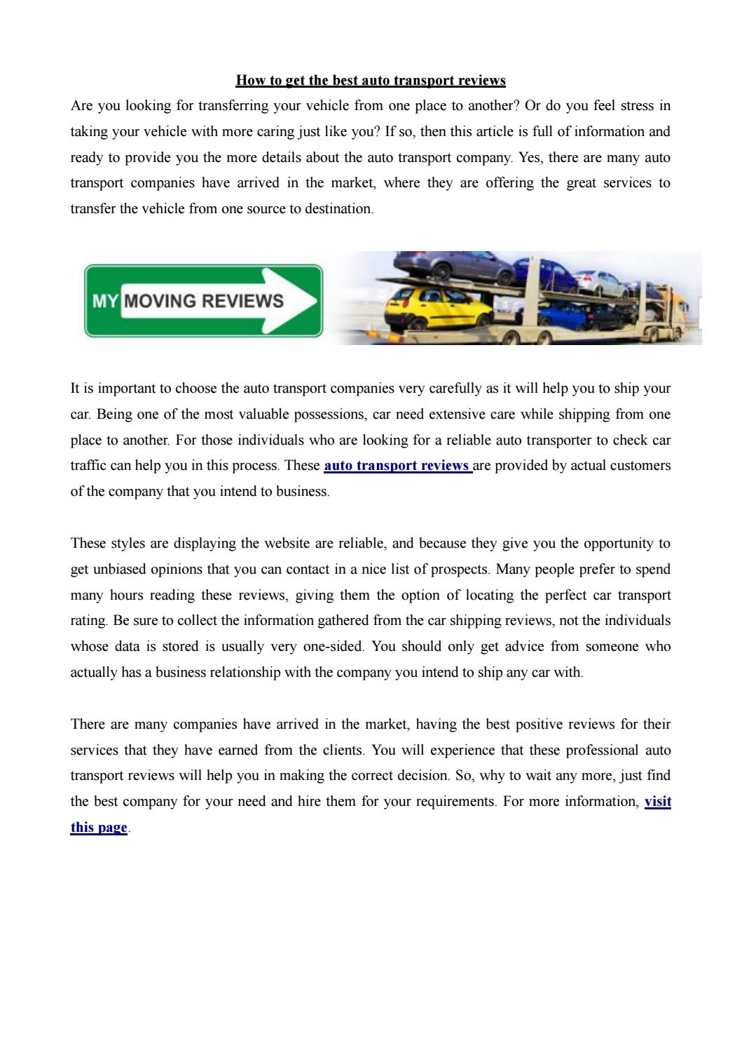 Best Auto Transport Companies >> Mymovingreviews Pdf By Emma5858 Issuu