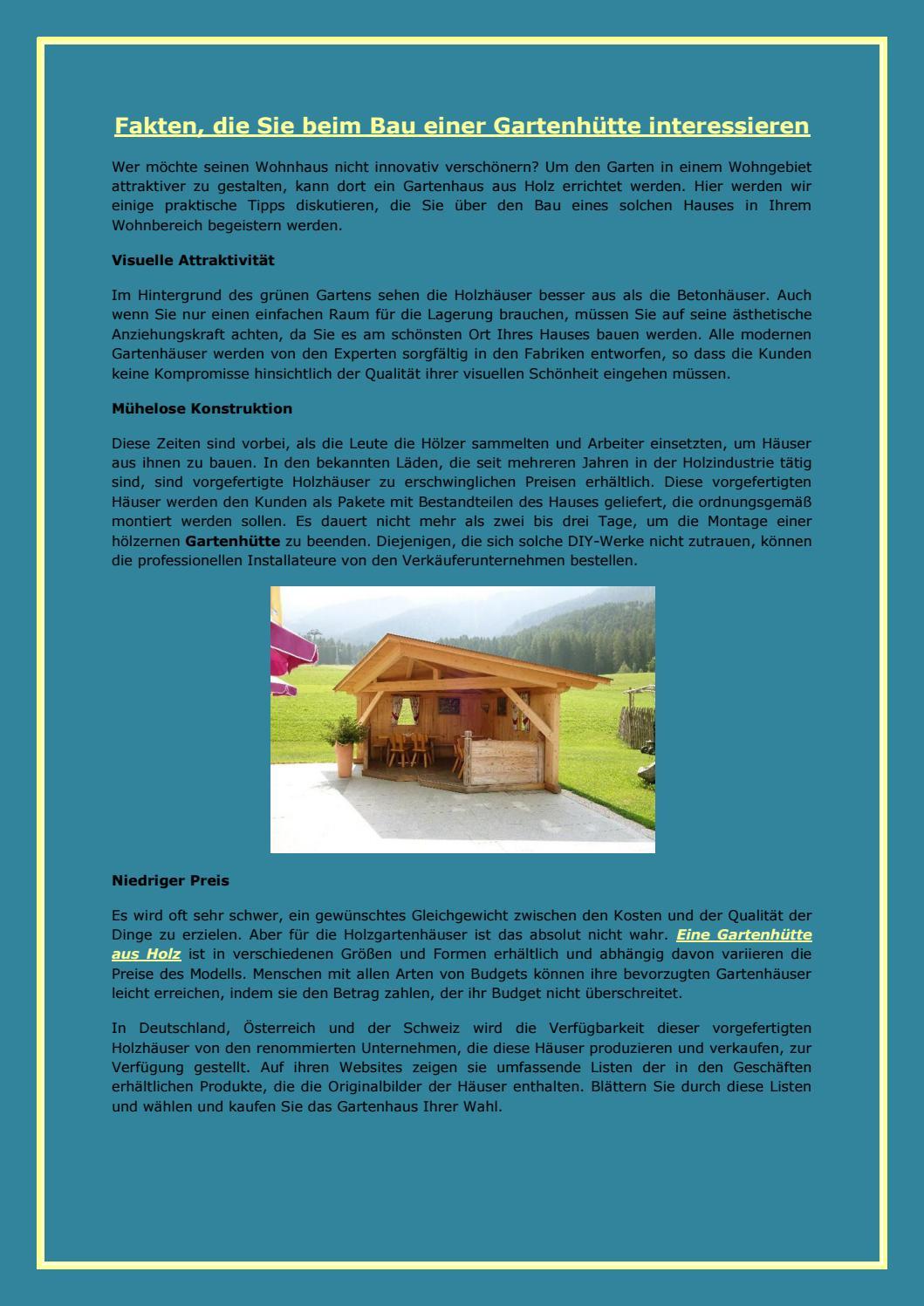 Fakten, die Sie beim Bau einer Gartenhütte interessieren by William ...