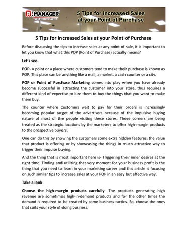 Lima Tips For Increased Sales At Your Point Of Purchase Before Discussing The Tips To Increase Sales At Any Point Of Sale It Is Important To Let You Know That